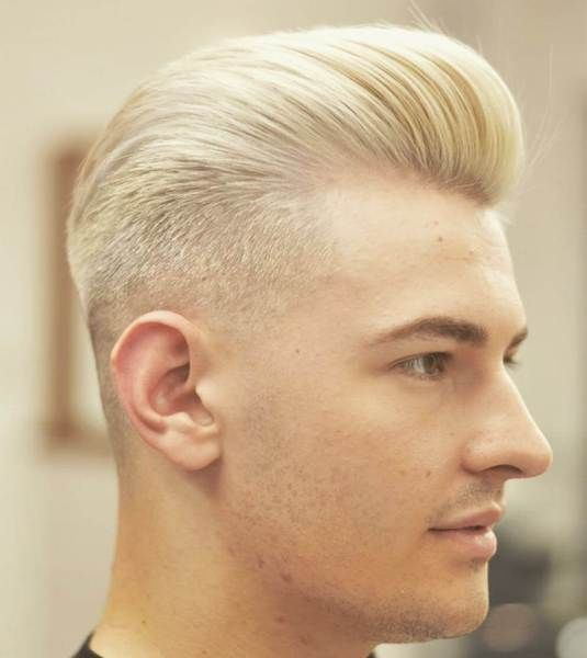 Platinum blonde quiff with short sides long top