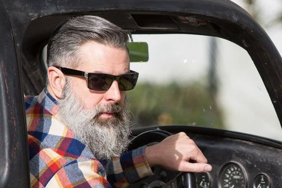 Long Beard and Slick gray hair style