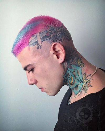 Edgy Skin Faded Short Undercut with Pink and Blue Hair