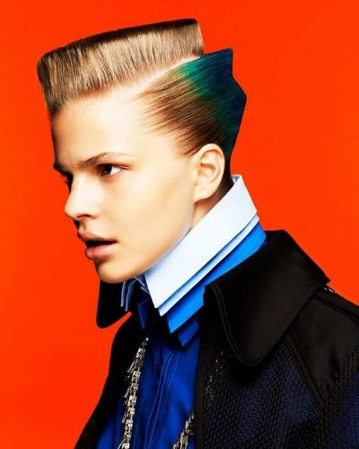 Hard Diagonal Part with Crop Top Blonde Hair and Blue Sides