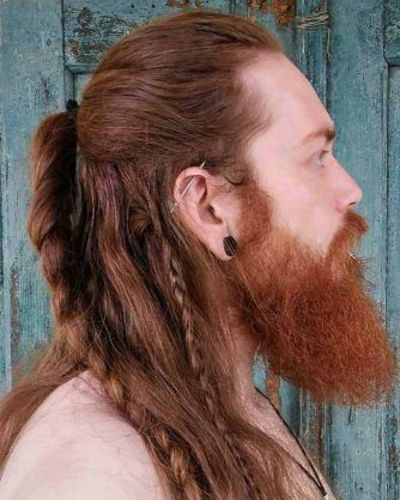 Redheaded Viking with Braids and Bushy Beard
