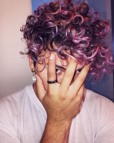 Purple Forward Swept Curls with Daring Magenta Highlights