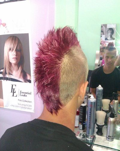 Pink Mohawk with Short Mullet and Blonde Sides