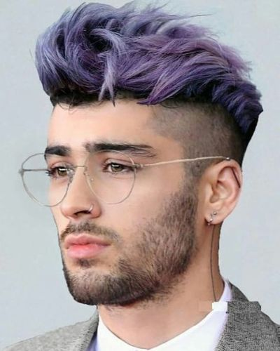 Purple Hair and Undercut Zayn Malik Style
