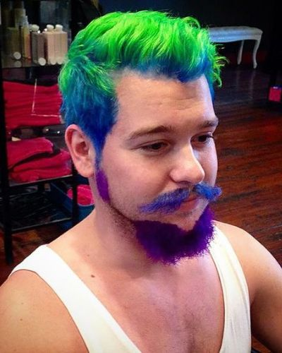 Blue Hair with Neon Green Tips and Purple Beard