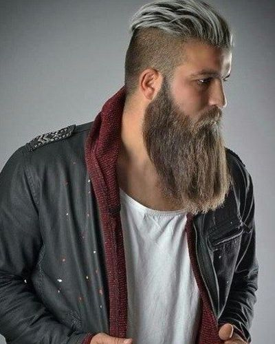 Undercut with White Highlights and Long Straight Beard