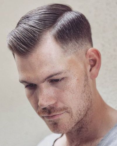 Hard Part and Gelled Hair with Low Fade