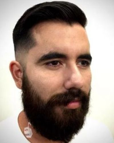 Simple Gelled Combover with Razor Fade and Bushy Beard