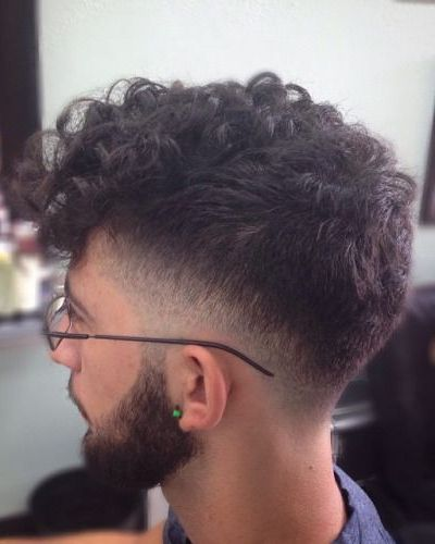 Forward Swept Curls with Fade and Beard