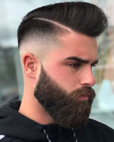 Hard Part Pomp with Fade and Bushy Beard