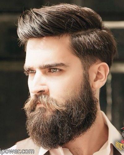 Messy Shape Up with Hard Part Short Fade and Messy Beard