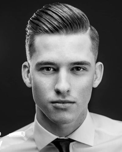 Dapper Gelled Pomp with Hard Part and Fade