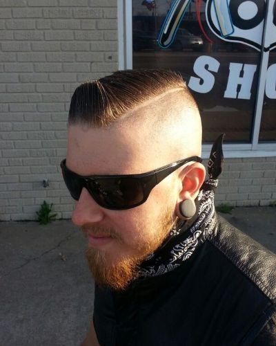 Spiky Front Gelled Hair with Hard Part and Skin Razor Fade