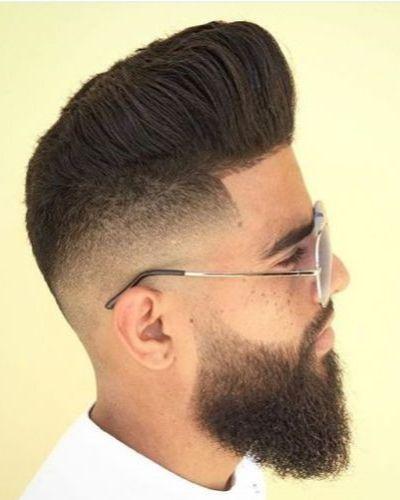 Pompadour Razor Fade with Beard