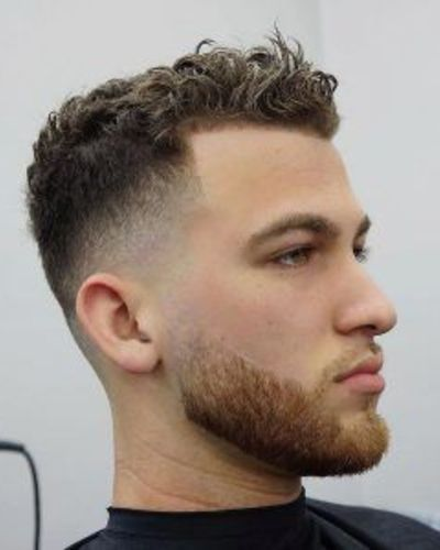 Curly Hair with Slight Widow's Peak and Fade