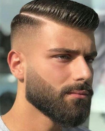 Sculpted Hair and Beard with Hard Part Fade