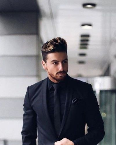 Wavy Dreamy Quiff with Blonde Highlights and Fade