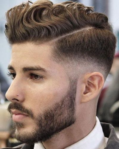 Wavy Hair with Hard Part and Mid Fade