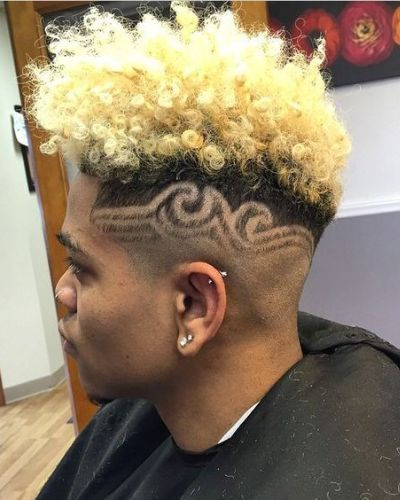 Blonde Curls with Hair Tattoo and Fade