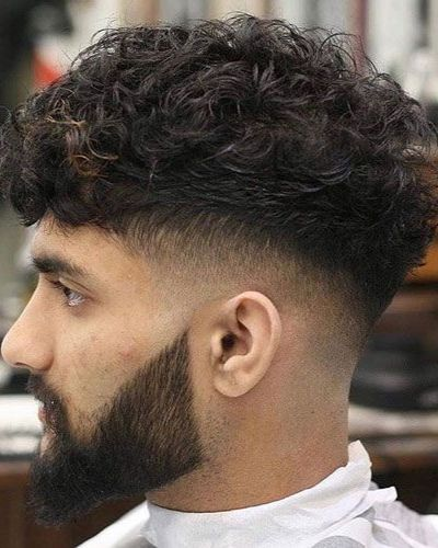 Curly French Crop with Mid Fade