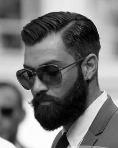 Dapper Hard Part for Thin Hair with Bushy Beard