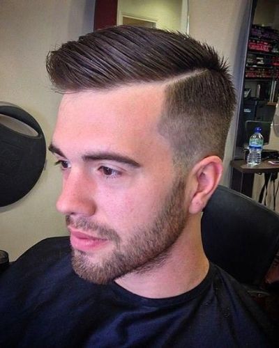 Classic Short Haircut with Diagonal Hard Part and Simple Fade