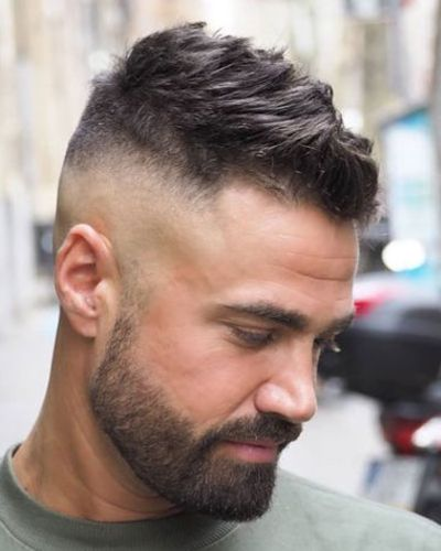 Short Spikes and Tape Up Fade with Square Beard