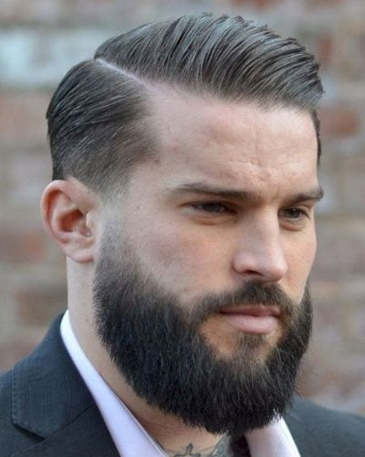Slightly Askew Side Part with Delicate Fade and Bushy Beard