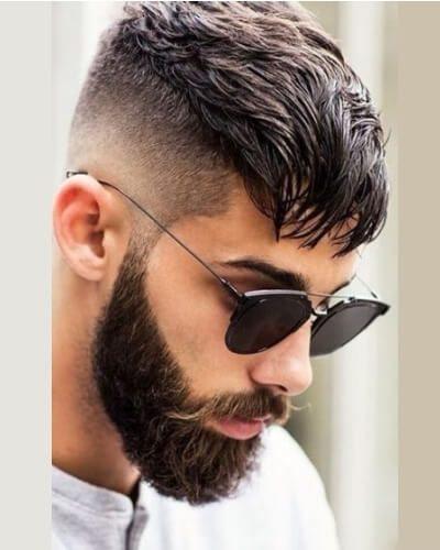 Undercut Forward Sweep Subtle Razor Fade and Beard