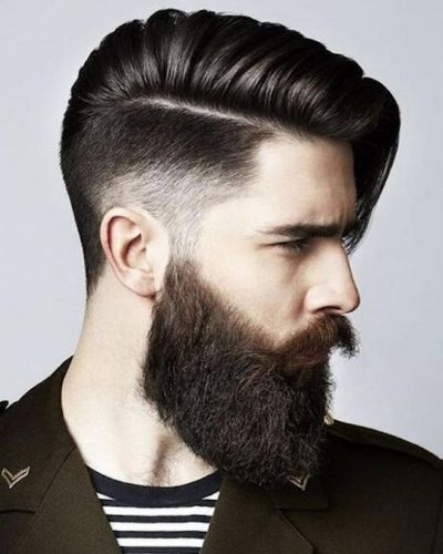 Edgy Side Fringe Hard Part Fade with Long Beard