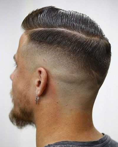 Hard Part Gelled Haircut with Razor Fade and Thin Beard