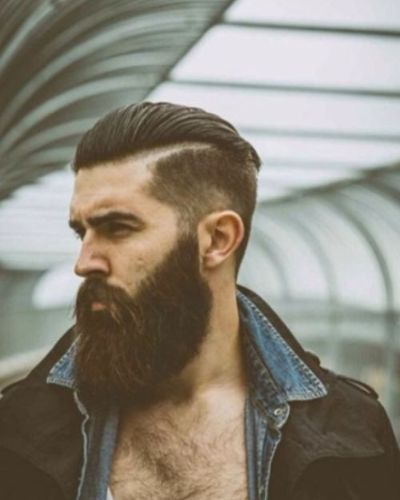 Extra Manly Beard with Wide Hard Part and Slight Fade