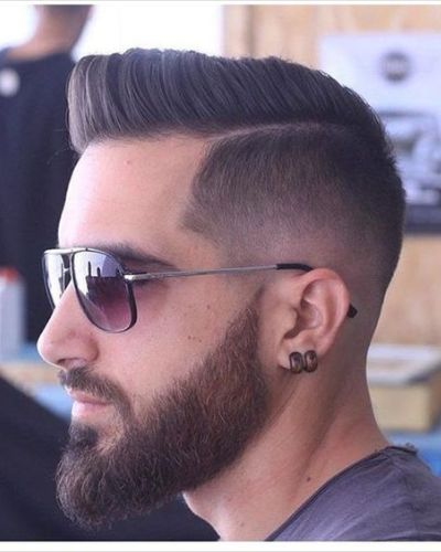 Sculpted Hair with Sculpted Beard, Hard Part and Fade