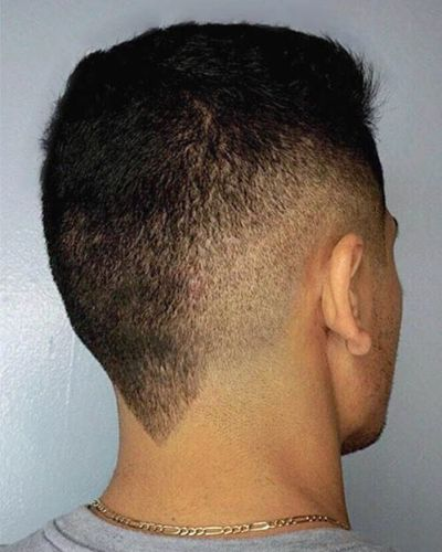 Simple Haircut with V Fade in the Back and Razor Fade on Sides