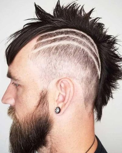 Razor Fade Mohawk with Lines and Beard
