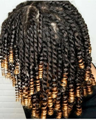 Think Long Twists with Permed Blonde Highlights