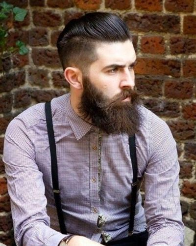 Slicked Back Undercut with Bushy Beard