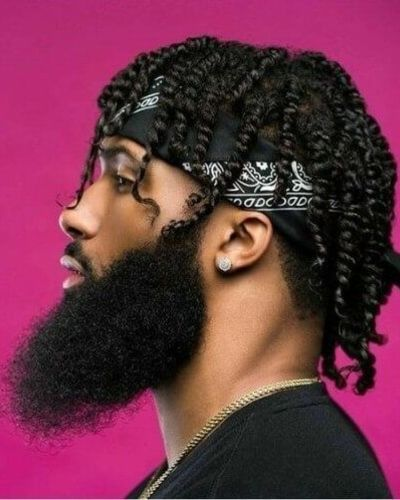 Thin and Far Between Twists with Bandana and Extra Bushy Beard