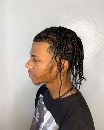 Tight and Short French Crop with Slicked Back Two Strand Braids