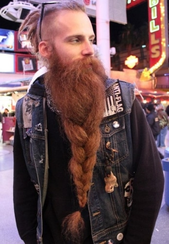 braided long beard and short hair viking style