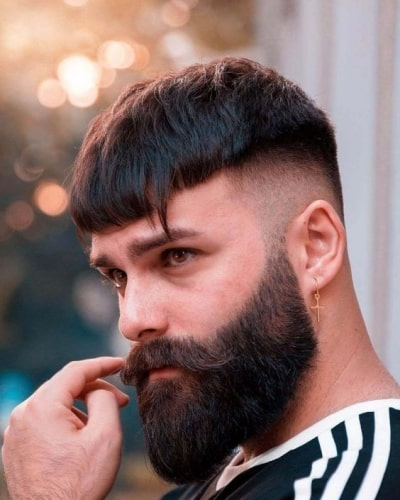 French Crop Style with Shaved Sides and Mid-Length Beard