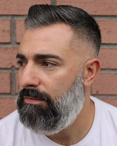 Hight and Tight Haircut with Salt and Pepper Beard