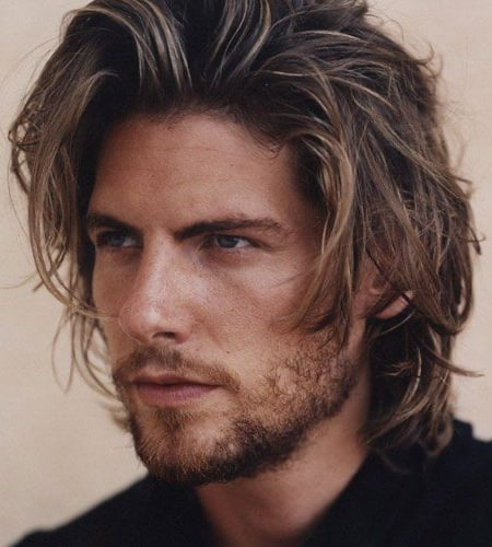 Long and Messy Hairstyles with Stubble Beard