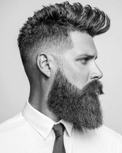 Mohawk Hairstyle with Square Beard