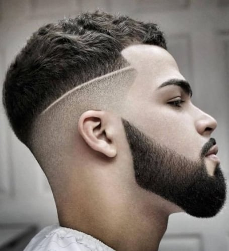 Short Hairstyles with Shaved Designs and Faded Beard