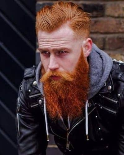 Side Part Haircuts with Long Ginger Beard