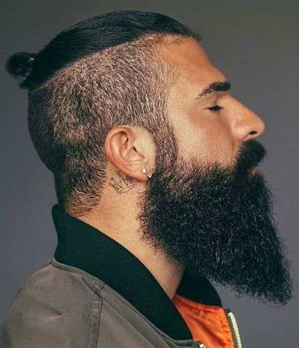 Small Top Knot with Beard Fade