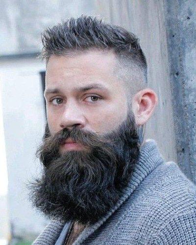 Taper Fade Haircut with Full Long Beard